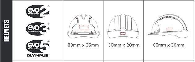 JSP Custom printed safety helmet logo sizes