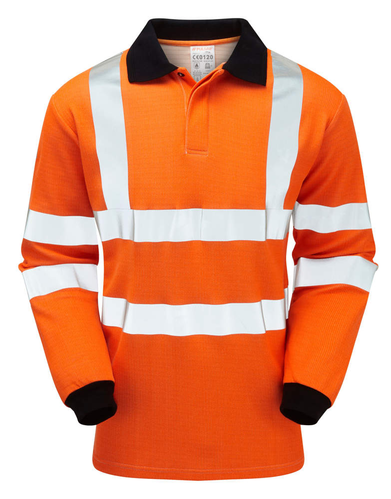 8b64f8afbeb3 Pulsar Flame Retardant Orange Hi Vis Poloshirt PRFR21 ...