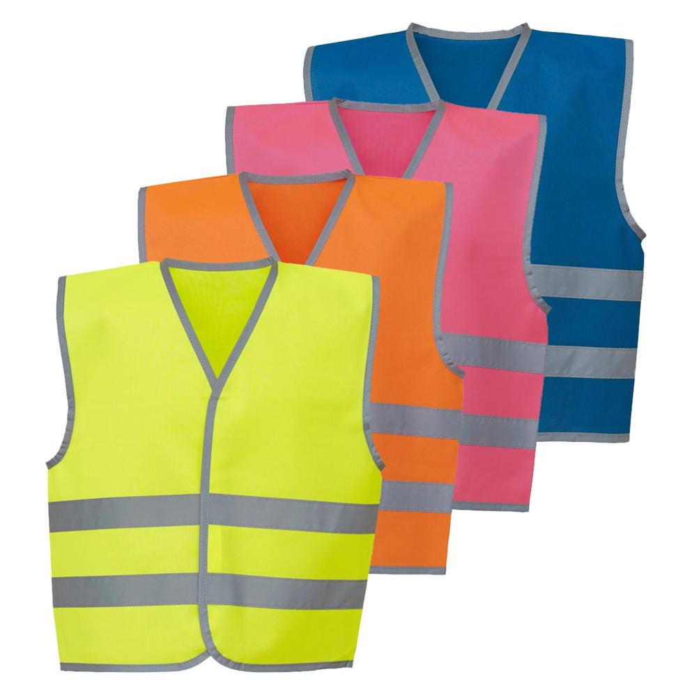 PERSONALISED HI VIS HI VIZ SAFETY VEST in Yellow Orangre Pink Green Zipped Kids