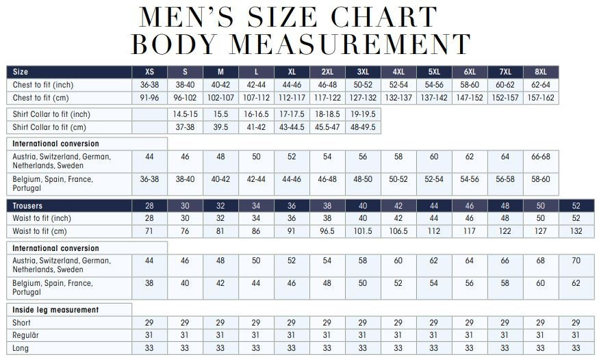 Uneek clothing size chart