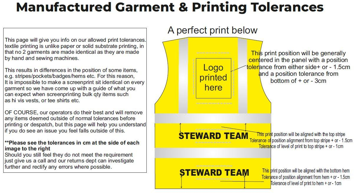 Garment logo position tolerances guide 1