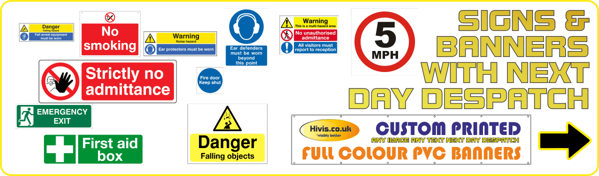 Safety signs with next day delivery