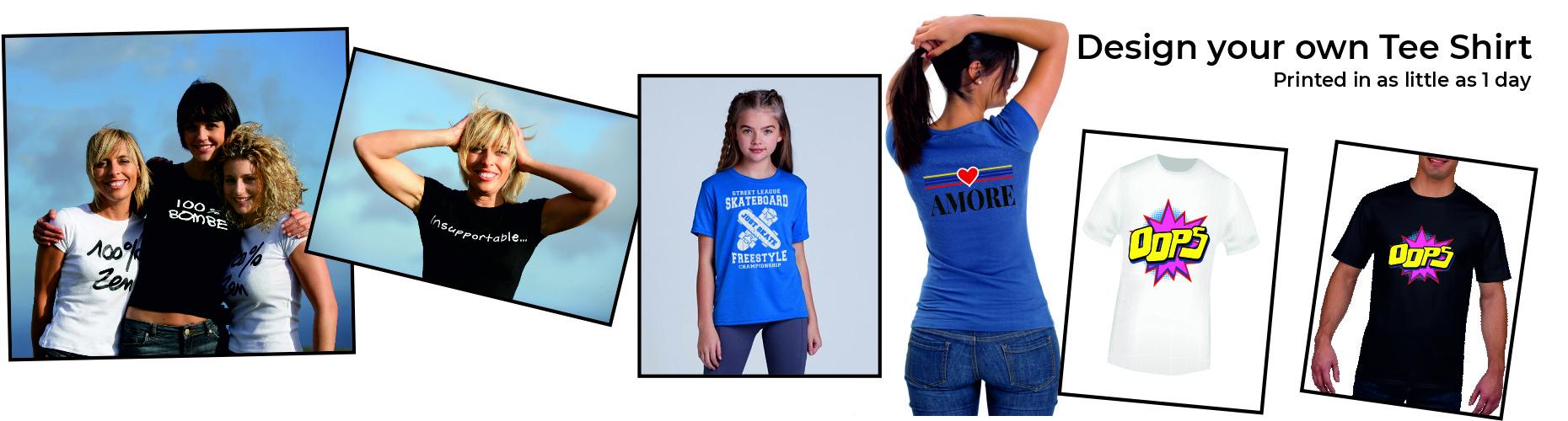 Custom printed personalised t shirts