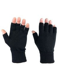 Fingerless Knitted Mitts Gloves Black FLMBL01