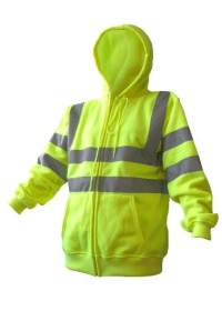Hi Vis Zipped Hooded Sweatshirt