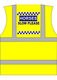 "Horse Riding vest Printed ""Horse Slow"" polite print"