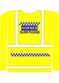 Printed Horse Riding hi vis vest Long Sleeve SLOW POLITE NOTICE