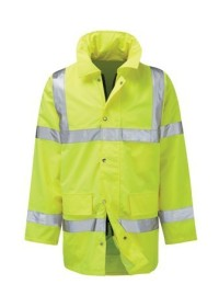 Printed Hi Vis Jacket Coat Yellow