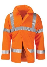 Printed Hi Vis Padded Coat Orange
