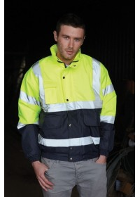 Yellow & Blue Hi Vis Bomber Jacket HVP218