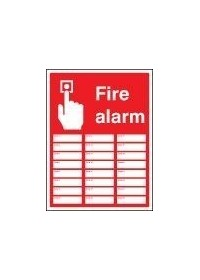 Fire alarm zones 24 sign