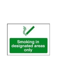 No Smoking in designated area sign