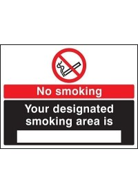 No smoking designated area sign