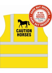 CAUTION HORSES hi vis vest with CAUTION HORSES printed to rear