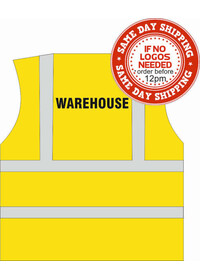 Hi Vis vest with warehouse print