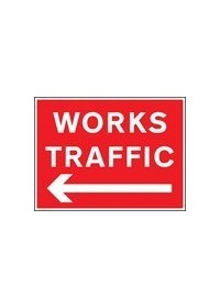 Works traffic left sign