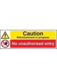 Caution refurbishment in progress sign