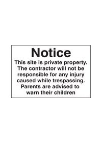 Notice this site is private property sign