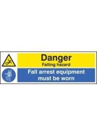 Danger falling hazard fall arrest equipmentment must be worn sign
