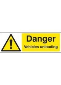 Danger vehicles unloading sign