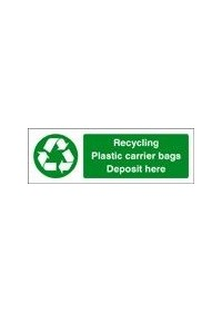 Recycling plastic carrier bags sign
