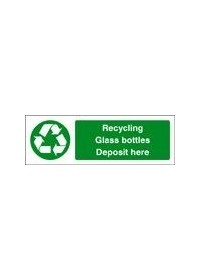 Recycling glass bottles sign
