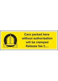 Cars parked clamped release fee £ sign