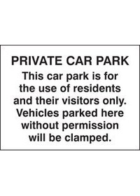 Private car park/residents/visitors only sign