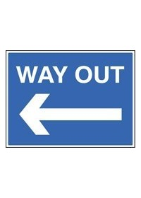 Way out left sign