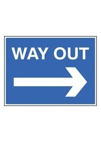 Way out right sign