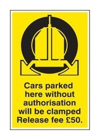 Cars parked clamped release fee £50 sign