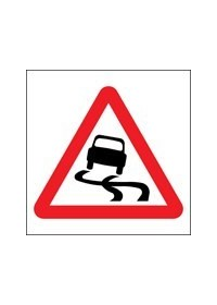 Slippery road surface sign
