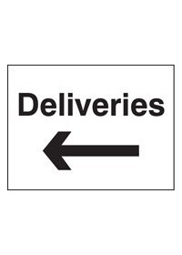 Deliveries arrow left sign