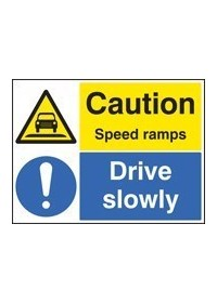 Caution speed ramps drive slowly sign