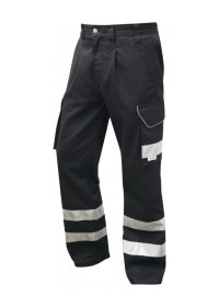 Leo Black Cargo Trousers With Hivis Stripes CT01
