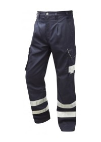 Navy Trousers With Hivis Stripes Leo CT02