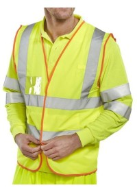 ID Pocket Hi Vis vest with Orange trim BS061