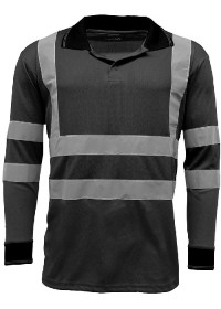 Black Hi Vis Poloshirt Long Sleeve HV005