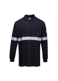 FR03 Flame Resistant Anti Static Long Sleeve Polo Shirt with Reflective Tape