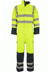 Hi Vis flame retardant coverall in yellow blue