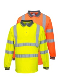 Personalised Hi Vis Long Sleeved Polo portwest S277