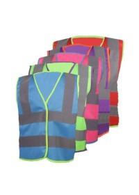 Childrens coloured hi vis vests, purple, red, green, blue, pink