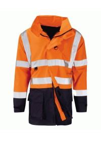 Orange & Navy Flame Retardant Anti Static Hi Vis Coat