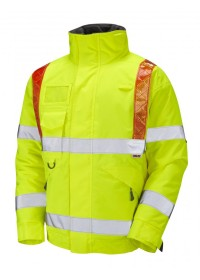 Traffic Management Hi Vis Bomber Jacket With Orange Brace