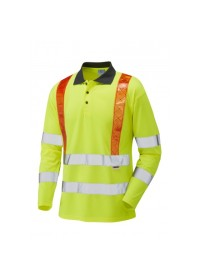 Traffic Management Hi Vis Long Sleeve Poloshirt With Orange Braces