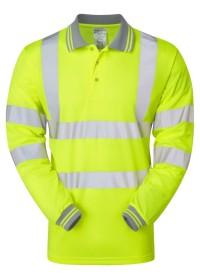 Yellow Long Sleeve Hi Vis Poloshirt Pulsar P458