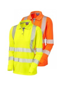 Ladies Hi Vis long sleeved polo shirt LEO PL08