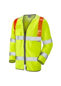 Traffic Management Long Sleeve Hi Vis Vest With Orange Braces