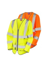 LeoS12 Womens Long Sleeve Hivis Vest With Pockets & Zip