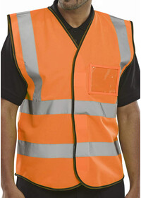Hi Vis Vest With ID Pocket Orange BD108